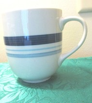 Mainstays Coffee Cup  White With Blue Stripes - $4.99