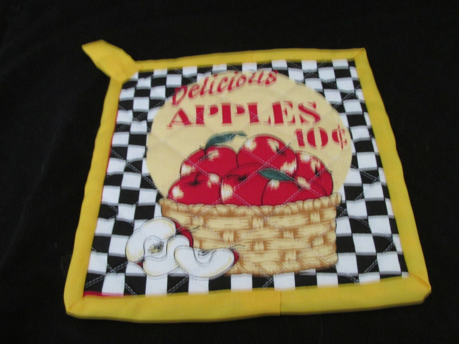 Quilted Potholders Handmade Lined with Insulbrite - Apples and Corn
