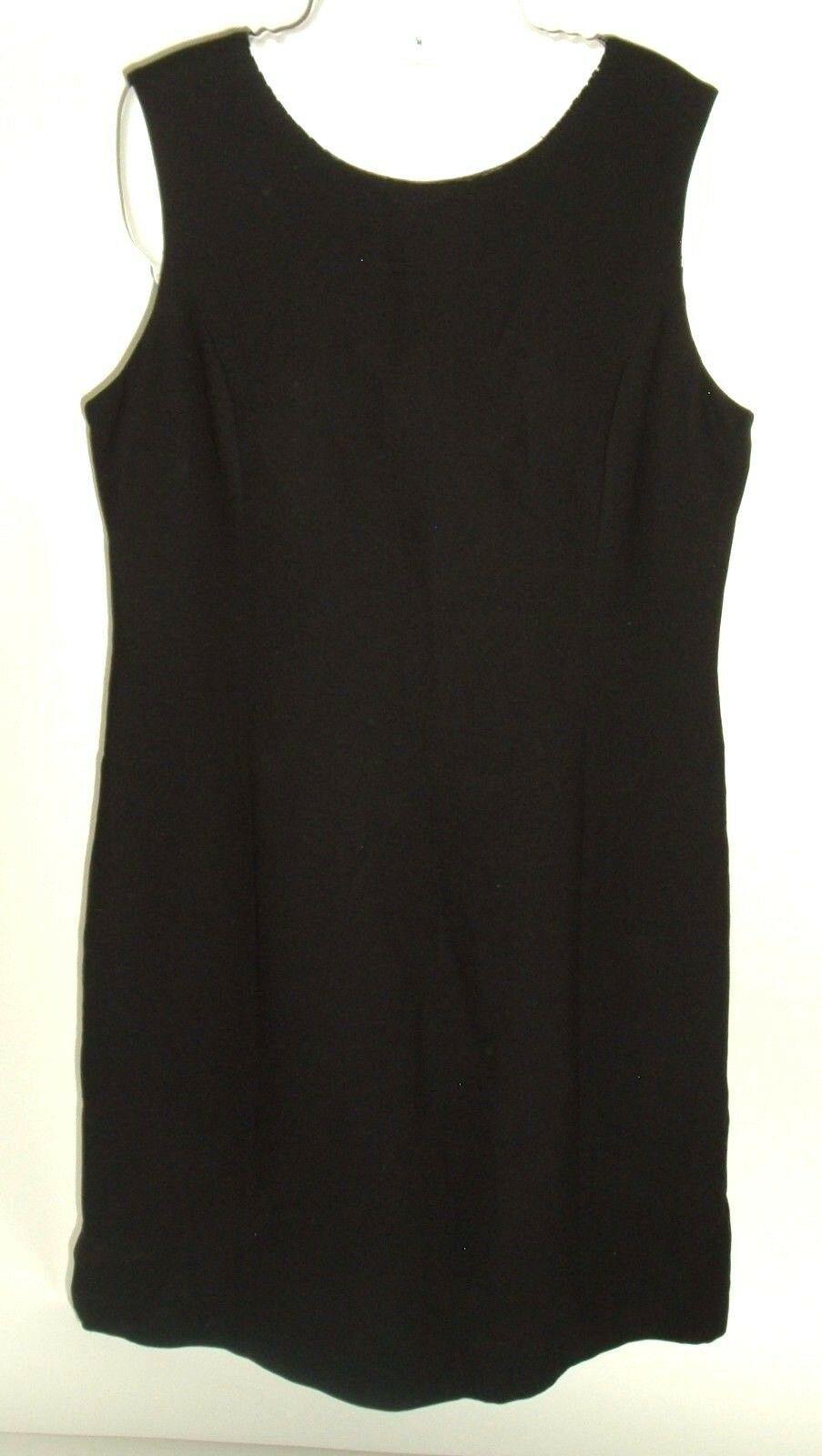 Women's Petite Sophisticate Black Shift Dress Sz 12 Vtg 90s LBD Beaded Neckline