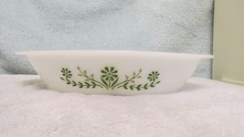 Vintage Jeanette Glasbake Green Crazy Daisy Divided Serving Dish - $9.99