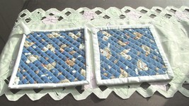Quilted Potholders Handmade Lined with Insulbrite - Chickens- White Trim - $4.99