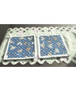 Quilted Potholders Handmade Lined with Insulbrite - Chickens- White Trim - $6.99