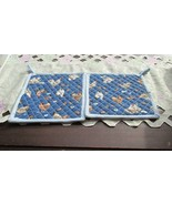 Quilted Potholders Handmade Lined with Insulbrite - Chickens- Light Blue... - $6.99