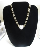 Vintage Avon Faux Pearl Rhinestone Heart Necklace - $8.99