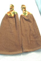 Crochet Top Kitchen Towels Set Brown With Orange Varigated Top - $6.00