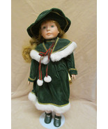 Porcelain Doll -  Green Coat and Fur Trim - $14.99
