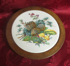 Vermont Woodbury Woodware Cheese Plate Wood & Floral Tile Tray Hand Turn... - $12.99