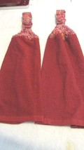 Crochet Top Kitchen Towels Set Burgundy with Tweed Tops - $6.00