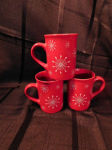 Red Atomic Star Snowflake Coffee Mug Tea Cup 10oz Houston Harvest Better Homes 3 - $14.99