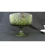 Vintage  FTD Olive Green Oak Leaf Glass Florist's Goblet Vase Planter 1970s - $6.99