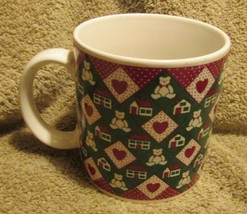 Mug by Applause Christmas Teddys, Houses and Hearts 1987 #21162 - $4.99