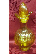 Vintage Avon Amber Glass Cruet W/ Stopper Ribbed Glass Empty Oil Vinegar - $4.99