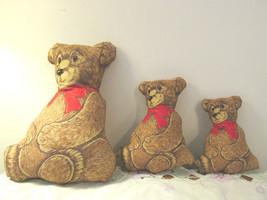 Handmade Stuffed Panel Three Teddy Bears - $9.99