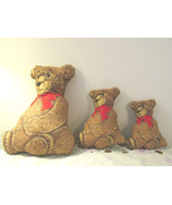 Handmade Stuffed Panel Three Teddy Bears - $12.99