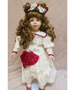 Porcelain Doll -  Girl With Ivory Dress and Red... - $14.99
