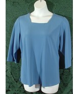 Susan Graver Womens 1X Blue Square Neck Top - $7.00