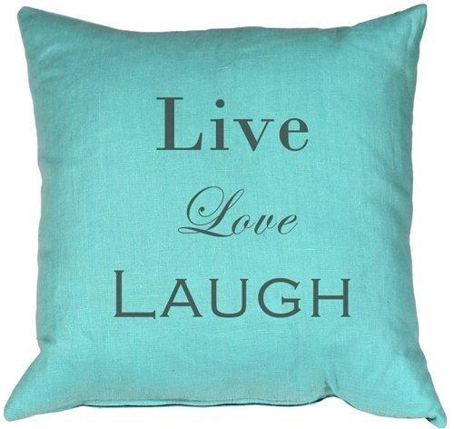 Pillow Decor - Live Love Laugh Linen Turquoise 20X20 Throw Pillow for sale  USA