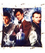 Doctor Who 9th, 10th, 11th Doctors Home Decorative Pillow Case Zippered  - $14.00