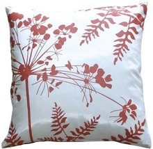 """Pillow Decor - Whtie with Red Spring Flower and Ferns 16"""" Pillow - $27.95"""