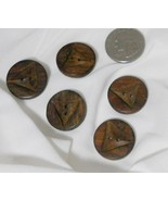 Lot of 5 wood buttons Triangle pattern  - $5.00