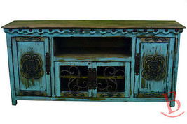 Turquoise Large Durango TV Stand Console With Iron Work Real Wood Western Rustic - $1,088.99