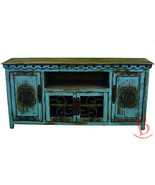 Turquoise Large Durango TV Stand Console With Iron Work Real Wood Wester... - $1,088.99