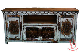 White Large Durango TV Stand Console With Iron Work Western Rustic Real Wood - $1,088.01