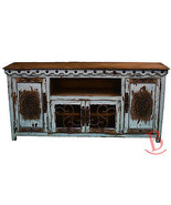 White Large Durango TV Stand Console With Iron Work Western Rustic Real ... - $1,088.01
