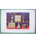 TABLE ORNAMENTS Candlestick Writing Desk Blotter - 1862 COLOR Litho Print - $24.70