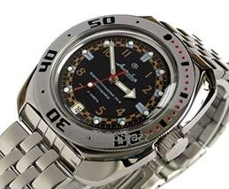 Vostok Amphibian 710469 /2416b Russian Military Divers 200m Watch Auto Black - $74.69