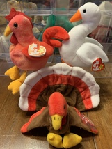 Gracie, Strut and Gobbles Beanie Babies in excellent condition - $60.00
