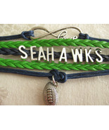 Infinity bracelet Infinity symbol with LOVE, SEAHAWKS, and a football ch... - $6.50