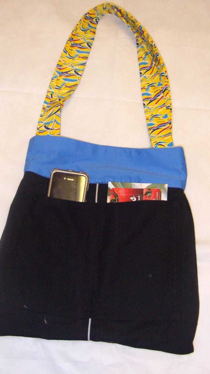 Handmade Fabric Ladies Yellow Blue Medium Summer Diper Girls Beach Tote Bag Free