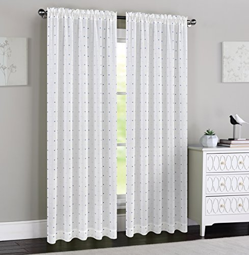 Urbanest 54-inch by 84-inch Madeline Set of 2 Sheer Curtain Panels, Off White wi