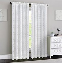 Urbanest 54-inch by 84-inch Madeline Set of 2 Sheer Curtain Panels, Off White wi image 1