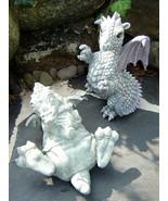 Lot (2) Light Gray/Purple Playful DRAGON Figurines - Ceramic, Resin (JAIMY) - $19.50