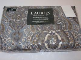 Ralph Lauren Bohemian Paisley Blue Cream Gold 3P queen duvet cover shams... - $145.45