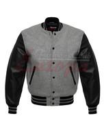 Grey & Black Varsity Letterman Baseball College Wool Jacket with Leather Sleevs - $66.72