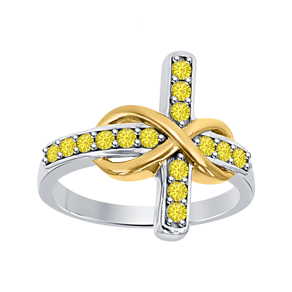 50ct Round Yellow Sapphire 18K Two-Tone Gold Over 925 Silver Infinity Cross Ring - $84.99