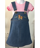 OOAK Girls Denim Jumper w/ western pony theme & Pink Short Sleeve Shirt ... - $27.95