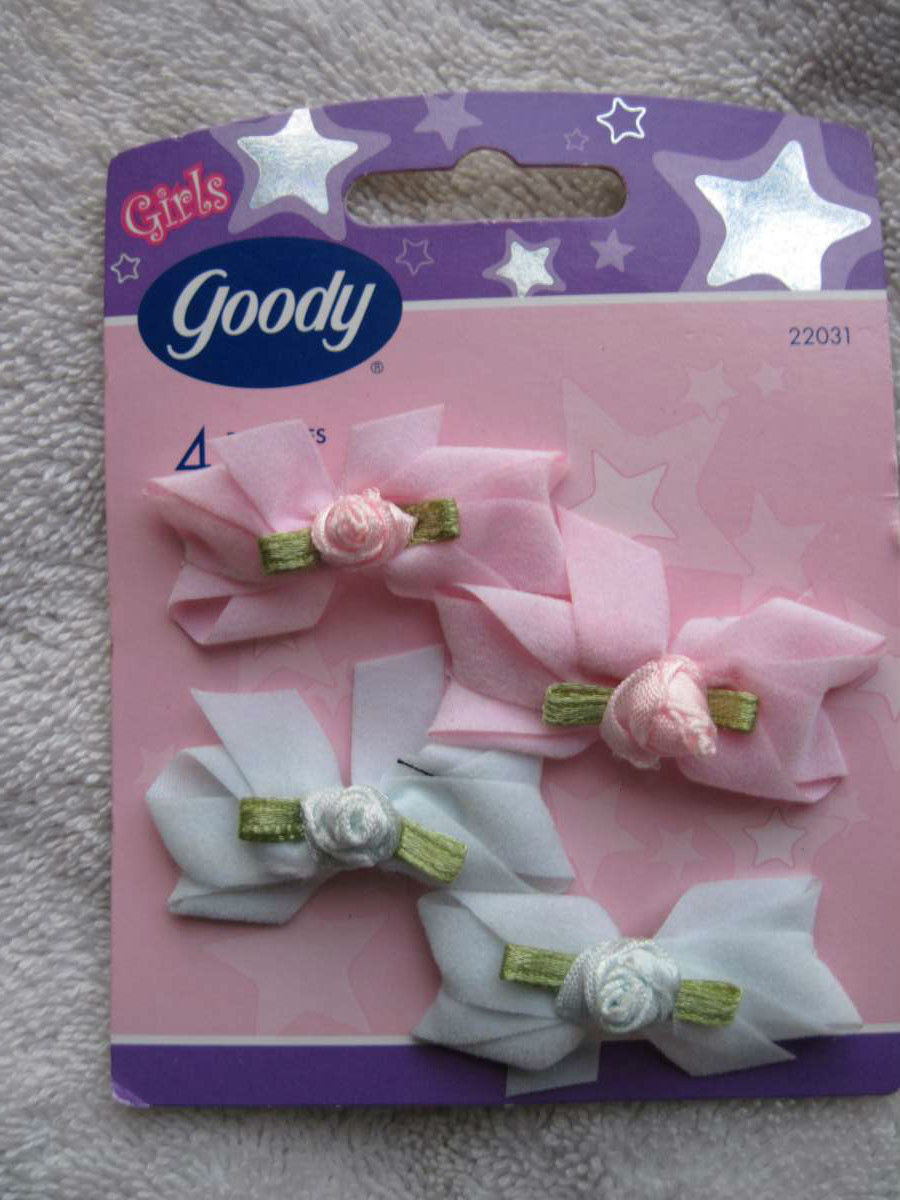 8 Goody S Baby White Pink Yellow Fabric Rose Flowers Hair Barrettes Pastel