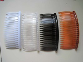 "4 Magic Classic Large Side Combs 4"" Clear White Black Plastic Fashion Al... - $9.00"