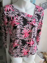George Stretch Small 4 6 Racy Pink Flowers Leaves 3/4 Sleeve Shirt Top P... - $5.00