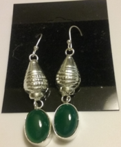 Genuine Natural Green Onyx Gemstone Dangle Earrings  - $6.99