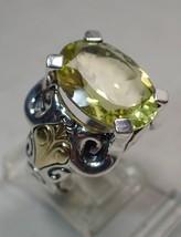 Estate Ann King 9 Carat Lemon Citrine Sterling Silver 18K Gold Ring SZ 6 - $102.84