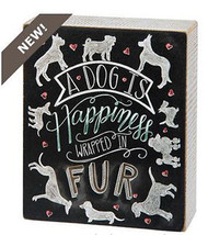"""A Dog is Happiness Wrapped in Fur Box Sign Primitives by Kathy 5"""" x 6"""" - $15.75"""