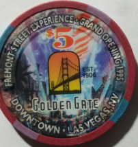 Golden Gate Downtown Las Vegas 1906 $5 Fremont St. Grand Opening 1995 Chip  - $9.95
