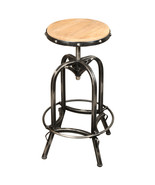 ANGORA RECLAIMED PINE WOOD IRON BASE BAR STOOL - $315.00