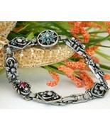 Vintage Link Charm Panel Bracelet Flowers Faux ... - $19.95