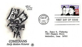 August 29, 1991 First Day of Issue, Postal Society Cover Comedians, Pict... - $1.09